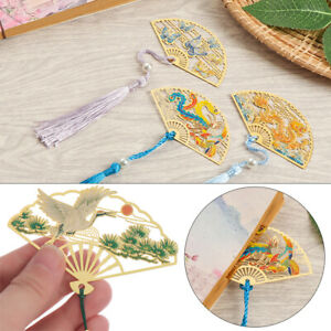 Chinese Style Metal Book Clip Brass Bookmark Pagination Mark Folding Fan Shape