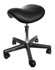 Black Saddle Massage Stool Ergonomic Comfortable Rolling Adjustable Salon Swivel