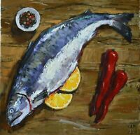 Fish  meal food dinner Still life by AVDEEV Original oil Painting RUSSIA