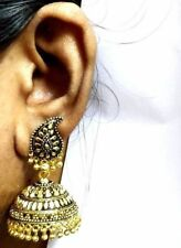 Ethnic Bollywood Bridal Black Gold Indian Pearl Boucles D'oreilles jumka jumki Jewelry