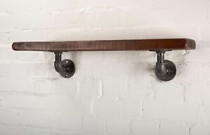 """Elbow Pipe Bracket Pair - Industrial Heavy Iron Shelf Support High Quality 1/2"""""""