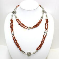 Necklace long natural red sunstone gemstone beaded handmade jewelry 90 grams