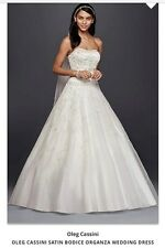 Oleg Cassini size 16W Satin Bodice Wedding Ball Gown, slip, veil and tiara