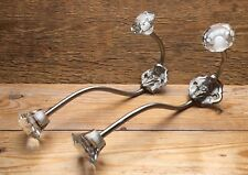 Pair Of Glass Look Silver Metal Wall Hooks/Vintage Shabby Chic/Coat Hooks