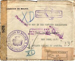 GP GOLDPATH: BOLIVIA COVER 1944 REGISTERED LETTER _CV680_P05