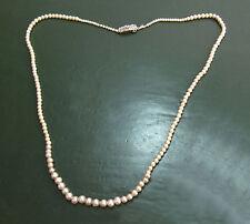 Feine antike Jugendstil-PERLENKETTE m. Verlauf ~1920 • 585er Gold • Diamanten