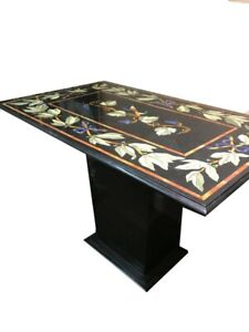 Black Marble Center Table Top Multi Inlay Gemstone Marquetry Art Halloween Gifts