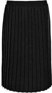 Womens Pleated Skirt Elasticated Waist Knife Pleats 27 Inch Length KK46