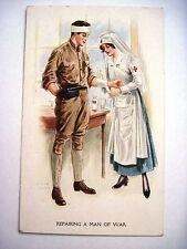 Vintage Red Cross Postcard by Arhcie Gunn w/ Nurse Repairing A Man Of War  *