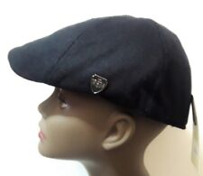 S/M Black Wool Leather Mens Newsboy Cabbie Visor Hat Cap Driving Women