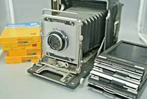 Graflex Crown Graphic 4X5 Camera w/ Schneider 135mm Lens + Holders + EXP FILM