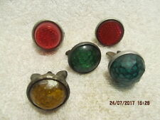 Lot of 5 Vtg. Reflectors for Motorcycle, Bicycle & Hot Rod Red, Green & Yellow