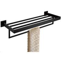 Black Stainless Steel Bathroom Polished Towel Shelf Bar Rack Rail Holder Fashion