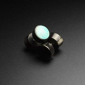 Fake Ear Stretcher Plugs Earring Horn Fake Gauge Plug Crushed Turquoise Inlay