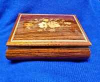REUGE Inlaid Lacquer Wood Music Jewelry Box Swiss Keepsake Handcrafted vintage