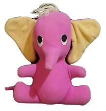 "60s Vintage Pink Baby elephant plush stuffed toy Animal w/ Adorable Big Ears 11"""