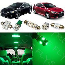 6x Green LED Lights Interior Package Conversion Kit for Lancer Evo X #ML3G