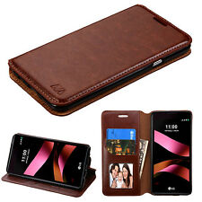 For LG Tribute HD / X STYLE PHONE BROWN WALLET LEATHER ACCESSORY SKIN COVER CASE