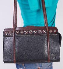 BRIGHTON Small Black Brown  Leather Shoulder Hobo Tote Satchel Purse Bag