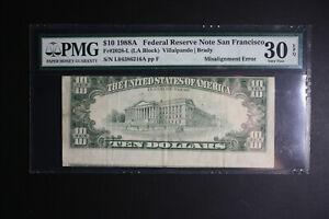 1988 A $10 Dollar ERROR Note, Hughly MISALIGNED REVERSE-1st Printing  PMG VF30