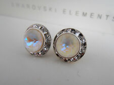 Earrings Micro Pave Halo Jewelry Gift New Light Grey DeLite Swarovski Stud