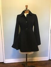 topshop fitted and flared navy coat US 4