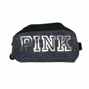 Victoria's Secret Pink Travel Case Heather Gray Bling Logo Zip Close Damage New