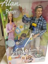 MIB 2002 Mattel Happy Family Dad and Son Alan & Ryan Barbie Doll Set 56710