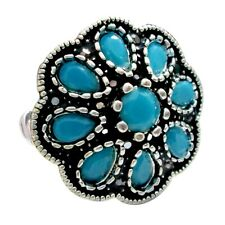 Tibetan Silver Marcasite Fashion Jewelry Dyed Turquoise Ring Size 6.75 Oxidized