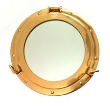 "15"" Brass Porthole Mirror~Nautical Maritime Wall Decor~Ship Cabin Window"