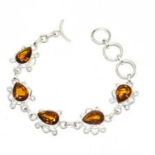 """Aaa+ Citrine Gemstone 925 Silver Jewelry Bracelet 7-8"""""""