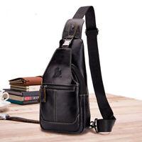 100% Genuine Leather Mens Cross Body Bag Shoulder Bags Sling Backpack for Hiking