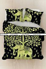 Elephant With Tree Design Comforter Quilt Cover Cotton Fabric Green Color Art