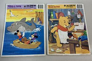 Vintage Mickey & Minnie Winnie The Pooh Frame Tray Puzzles