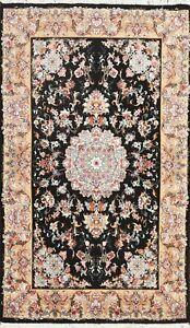 300 Knots Wool/ Silk Floral Tebriz Area Rug Hand-knotted Oriental 3'x5' Carpet