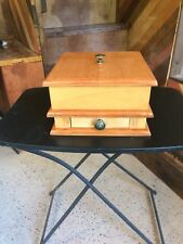 Rustic hand crafted solid American hardwood cremation urns with keepsake drawer