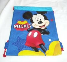 Blue Mickey Mouse Drawstring Backpack Disney Licensed Sling Tote Boy's Gym Bag