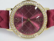 Isaac Mizrahi Live! Studded Velvet Cushion Strap Watch  Wine