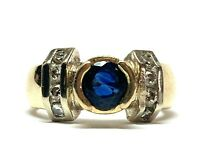 Vintage 14k Yellow Gold Blue Sapphire & Diamond Ring Band Size 6.5