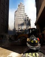 9/11 FDNY FIREFIGHTER AT WORLD TRADE CENTER 8x10 SILVER HALIDE PHOTO PRINT