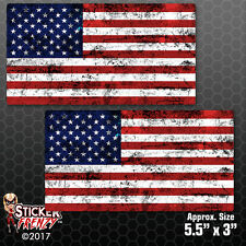 "USA Flag ""Grunge"" 2 pack Stickers American Car vinyl decal window bumper #FS2043"