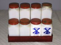 Vintage Set of 8 Milk Glass Salt & Pepper Spice Shaker Jars +Petina Display Rack