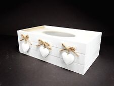 Shabby Chic White Tissue Box Wooden With 3 Decorative Heart  #7