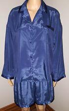 Vintage Victoria's Secret Navy Blue Shiny Liquid Satin 2 Piece Pajama Set M