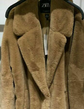 BNWT ZARA CAMEL FAUX FUR LONG COAT SIZE XL
