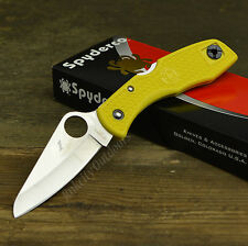 Spyderco Salt I H-1 Plain Edge Yellow FRN Handle Folding Knife C88PYL