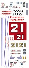 #21 Wood Brothers Purolator 1968-73 1/43rd Scale Slot Car Decals