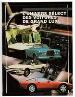 1989 Vintage Original booklet L'Univers select des voitures de luxe, luxury cars