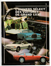 1989 Vintage Original booklet L'Univers select des voitures de luxe, luxury cars