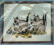 Vintage Siamese Kittens Cats Picture Needlepoint Lee Wards 1976